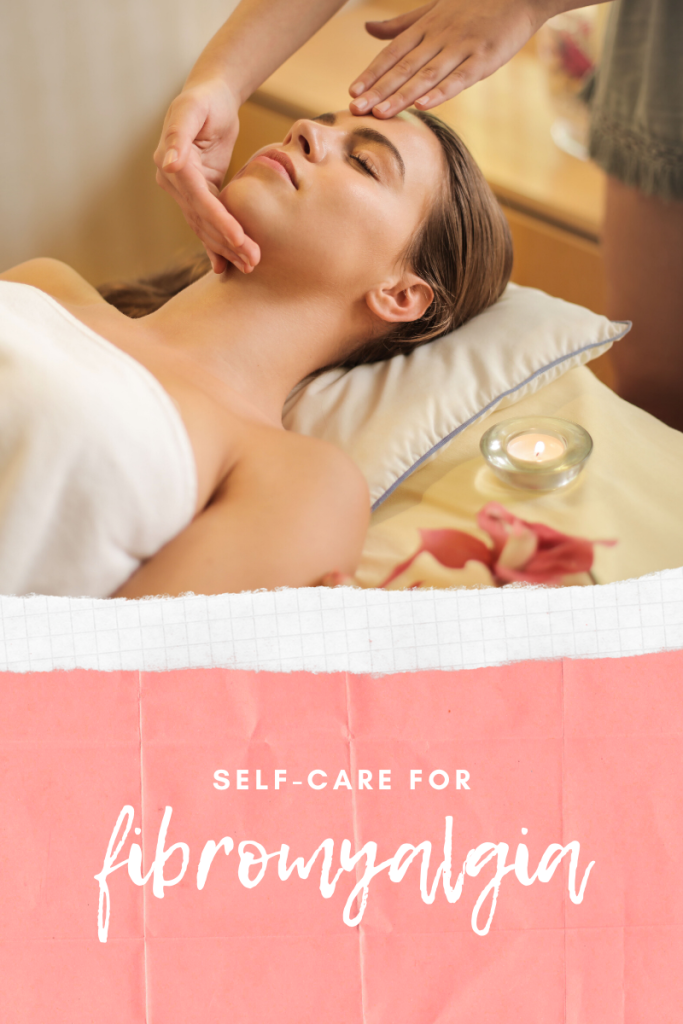 "woman receiving massage with pink border. text: ""self care for fibromyalgia"""