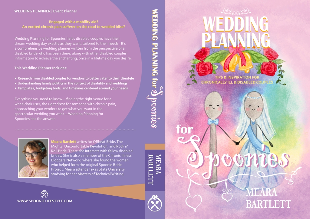Purple front and back book cover with swirly white font. The front is two spoons getting married under wedding bells. it is a water color. The back is simple hues of purple with my author photo.